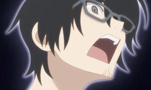 TVアニメ『かくしごと』の可久士の驚いた表情