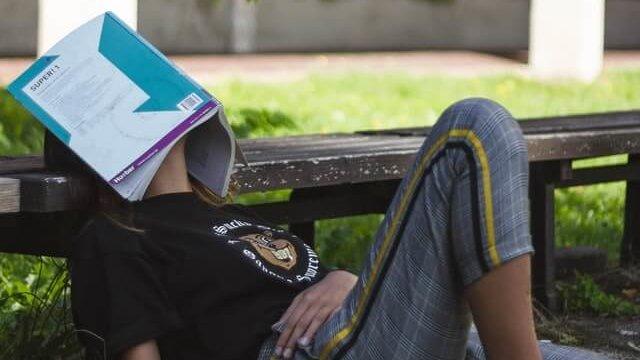顔の上に本を乗せている人